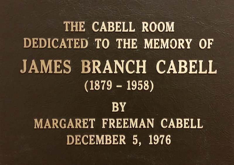 Dedication plaque, Cabell Room, James Branch Cabell Library