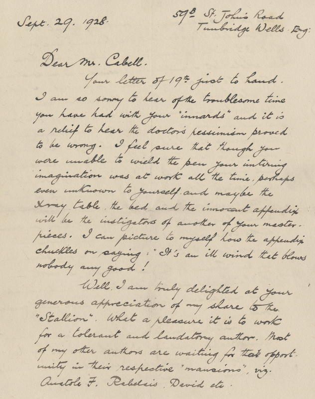 This six page letter from Frank C. Papé to James Branch Cabell was originally kept by Cabell in his copy of <em>Something About Eve: A Comedy of Fig-Leaves</em>, 1929 illustrated edition.