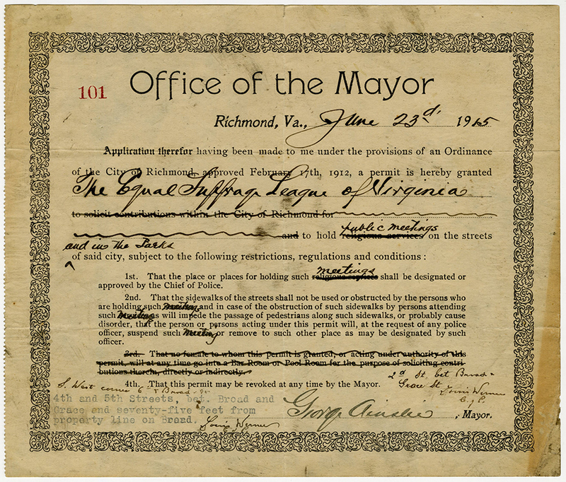 City of Richmond permit granted to Equal Suffrage League of Virginia allowing them to hold public meetings on the streets and in the parks, June 23, 1915