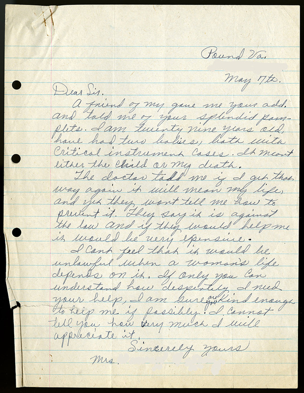 Letter to Virginia League for Planned Parenthood, May 7, 1944