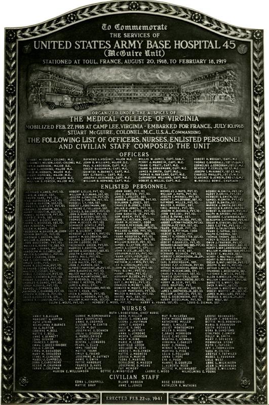 Base Hospital No. 45 Memorial Plaque