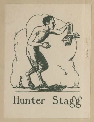 Bookplate of Hunter Stagg in Stagg's copy of <em>Innocence Abroad</em> by Emily Clark, 1931.