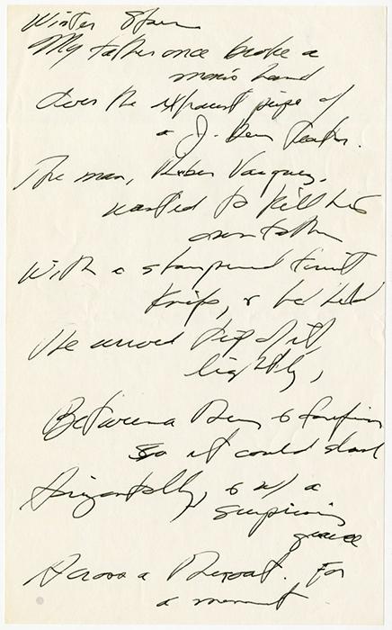 Winter Stars [handwritten by Levis on notepaper]