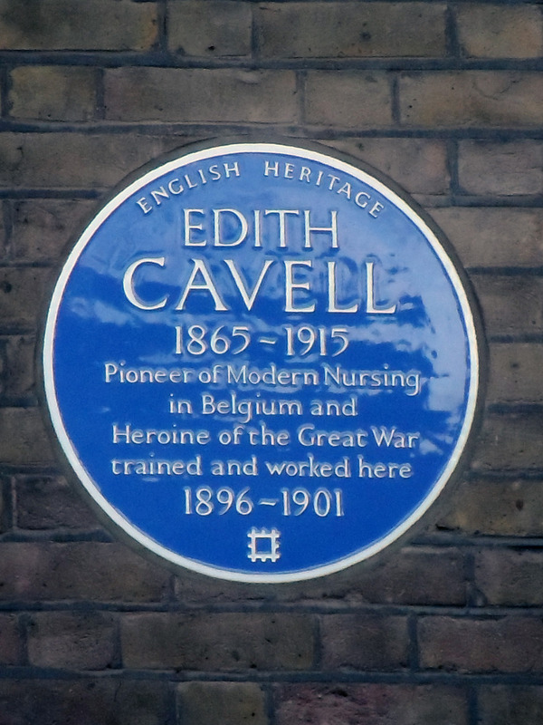Plaque to Edith Cavell, The Royal London Hospital at Whitechapel