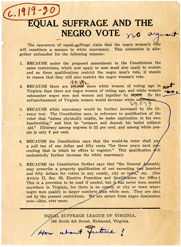 Equal Suffrage and the Negro Vote [Equal Suffrage League of Virginia broadside with handwritten notes]