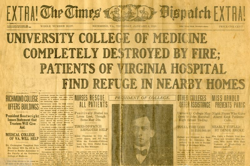Times Dispatch newspaper covering the fire at UCM