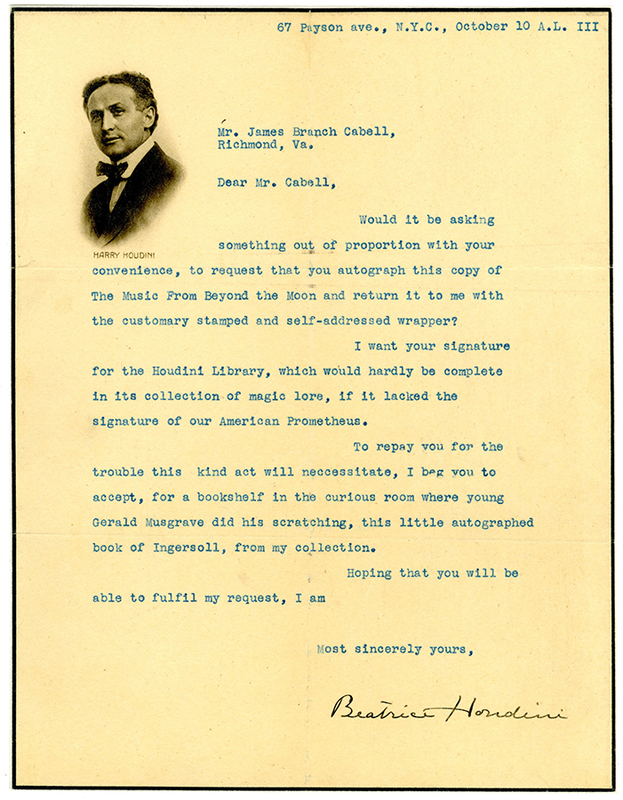 Letter to James Branch Cabell from Beatrice Houdini