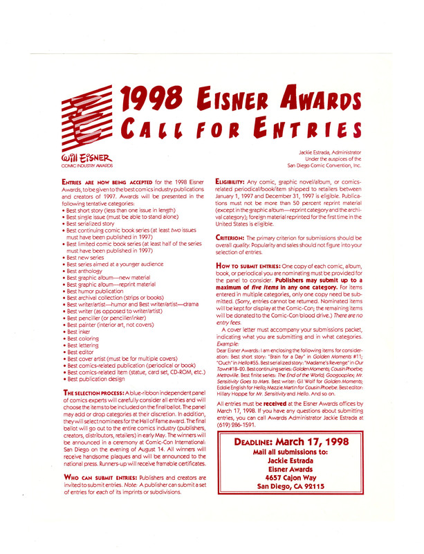 Will Eisner Comics Industry Award 1998 Call for Entries
