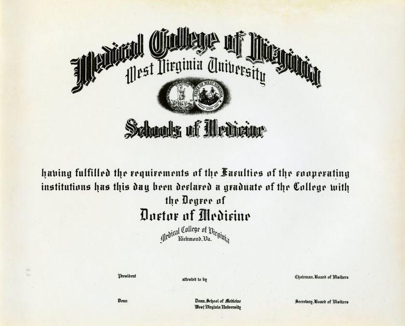 MCV/West Virginia University diploma