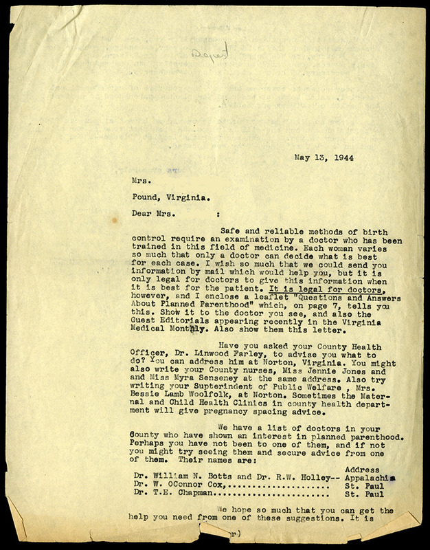 Reply to letter, Virginia League for Planned Parenthood, May 13, 1944