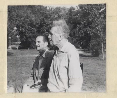 Photograph of Ezra Pound and Harry Meacham, pasted in Meacham's copy of <em>Pavannes and Divagations</em> by Ezra Pound, Jamestown, Virginia, June 1958.