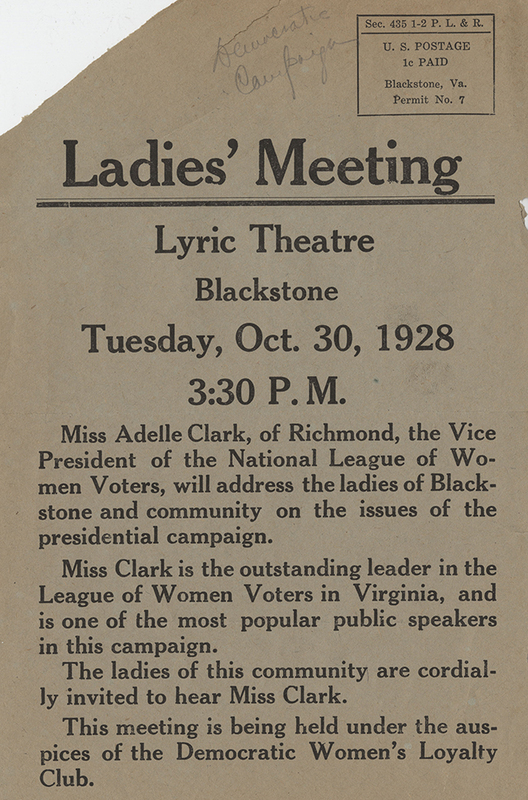 Ladies' Meeting. Lyric Theater. Blackstone. Tuesday, October 30, 1928. 3:30 PM [flyer]