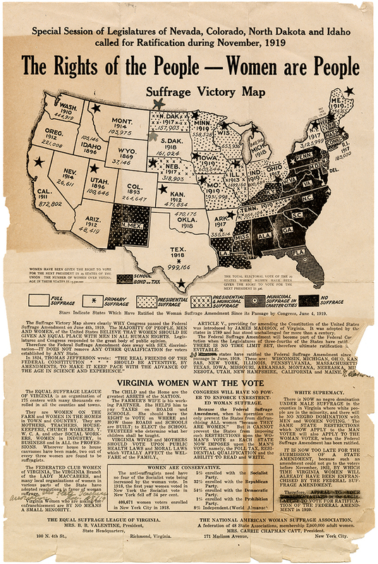 The Rights of the People -- Women Are People. Suffrage Victory Map [ESL of Virginia / NAWSA broadside]