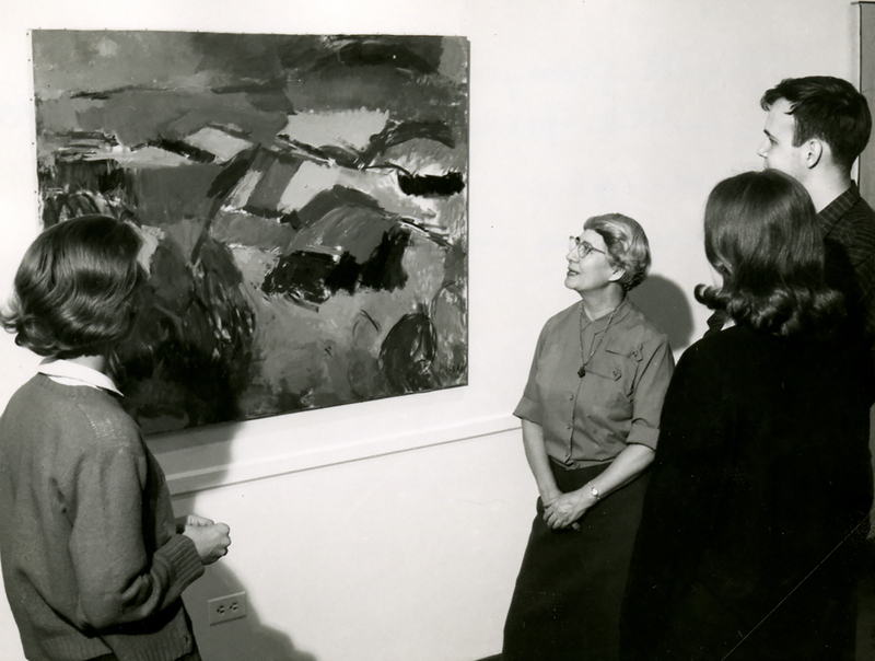 Theresa Pollak with a Group of Art Students