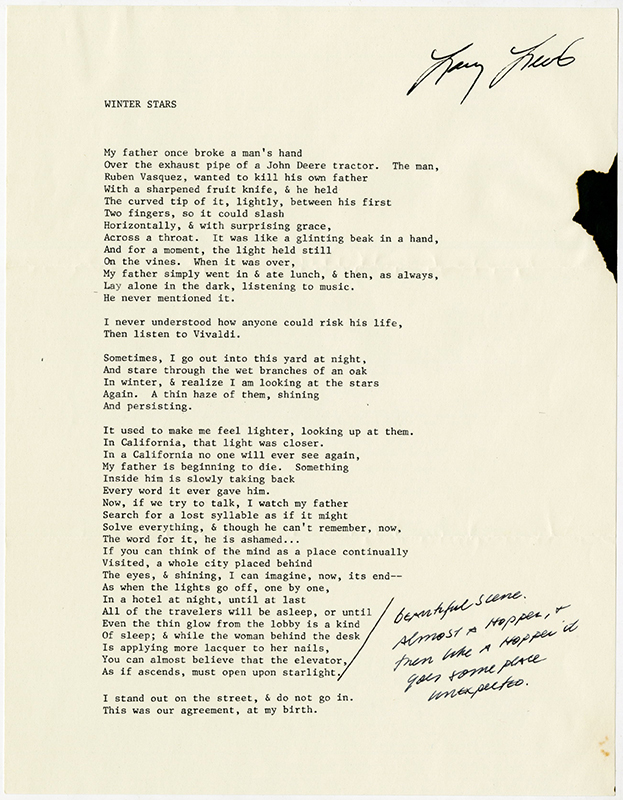 Winter Stars [photocopy with comments by Philip Levine]