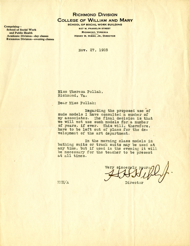 Letter to Theresa Pollak from Henry H. Hibbs