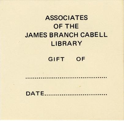 Cabell Associates original bookplate 1972