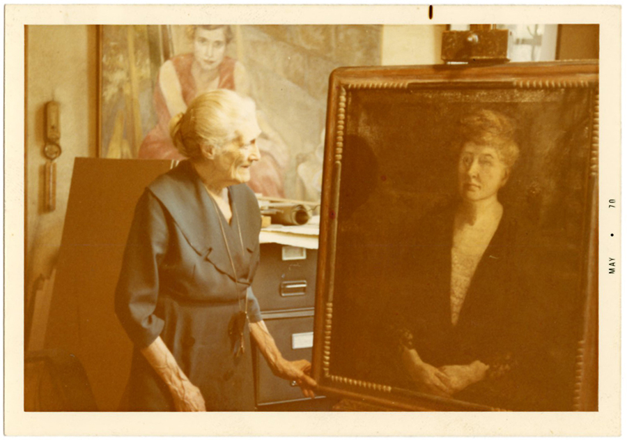 VCU_M9 Box 238 Adele Clark with portrait of Maud Wood Park May 1970 rsz.jpg