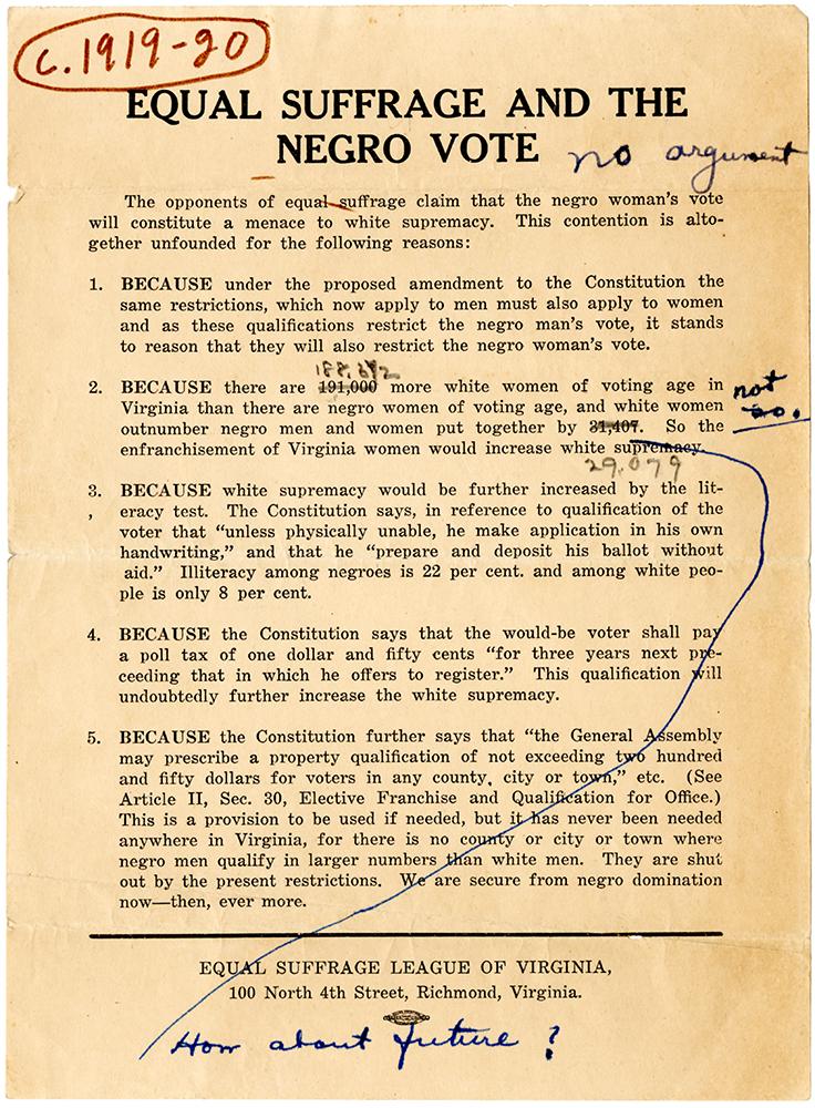 VCU_M 9 Box 233 Equal Suffrge and the Negro Vote ca 1919 ESL rsz.jpg