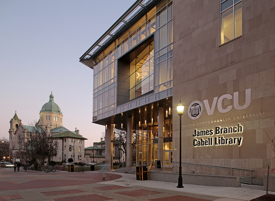 James Branch Cabell Library entrance and Cathedral Jan 2016 photo Jay Paul crop rsz.jpg