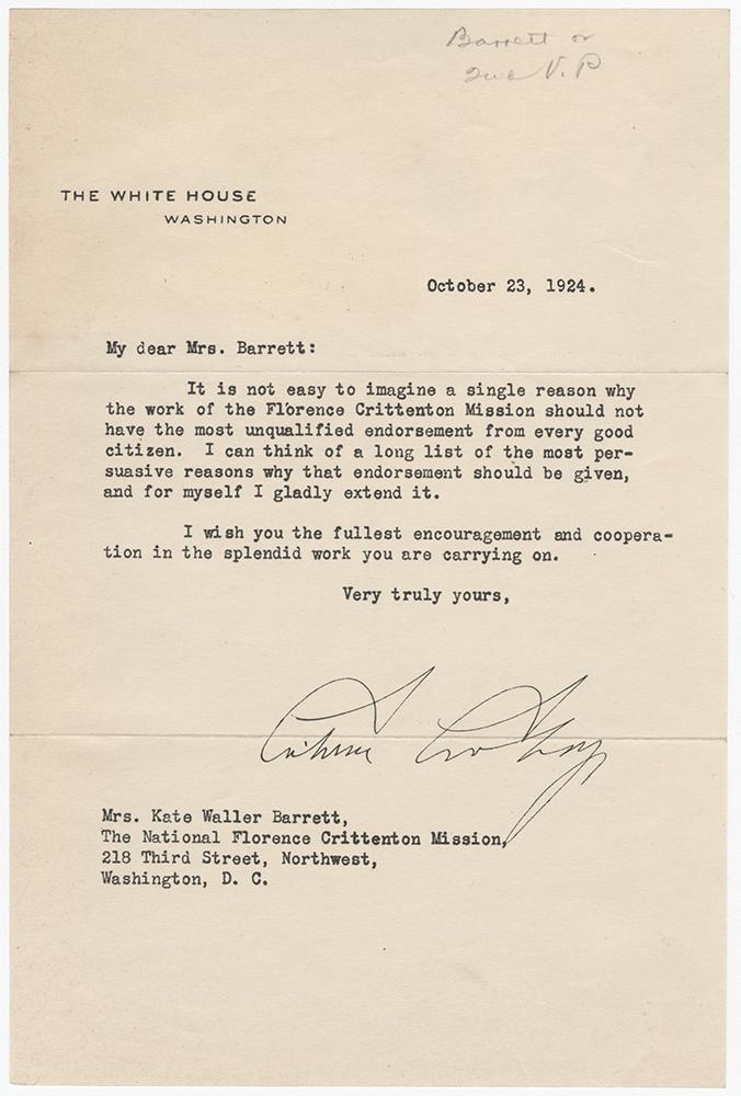 M 9 Box 111 Letter to K W Barrett from C Coolidge 10_23_1924 rsz.jpg