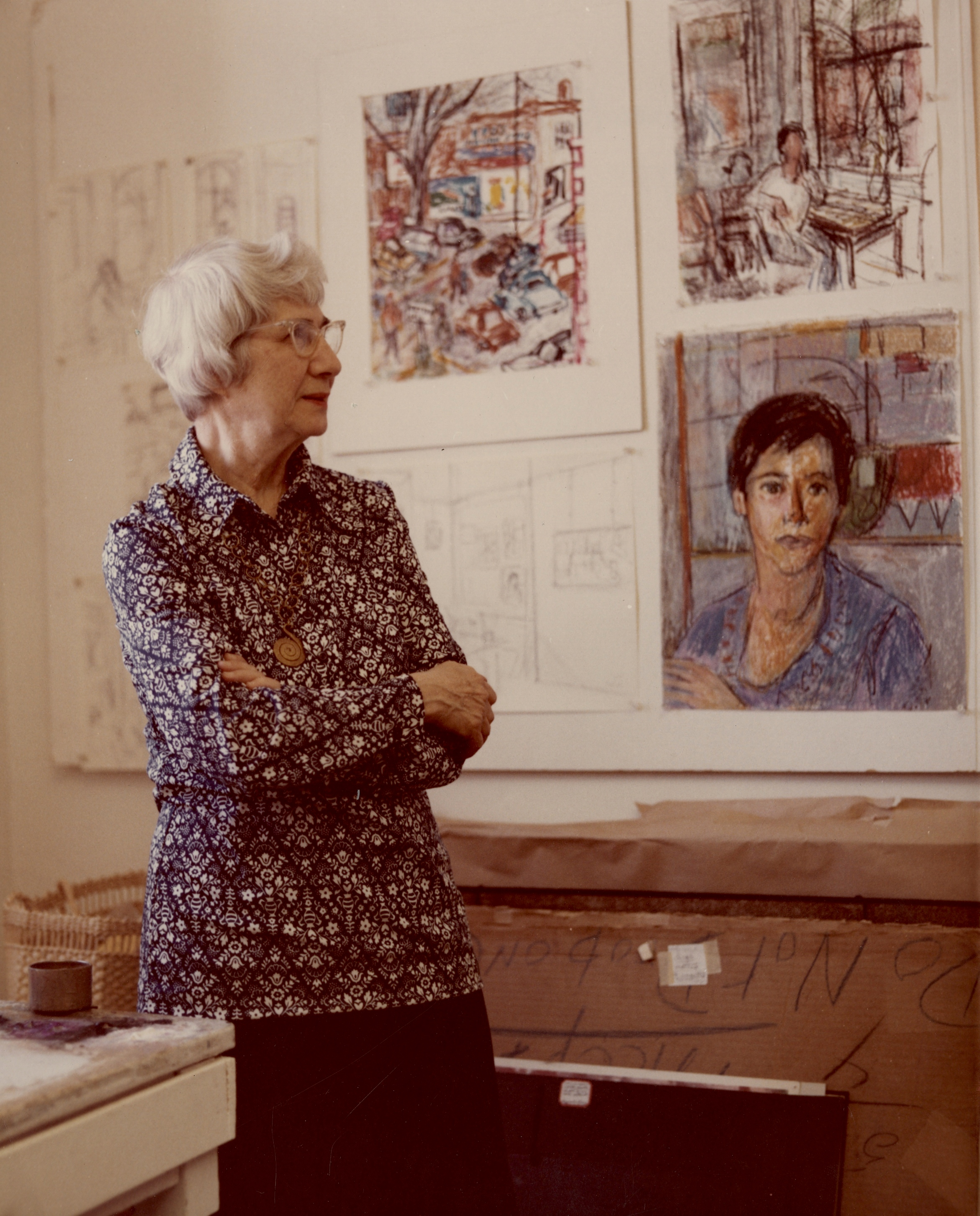 T Pollak and her art work_1975.jpg