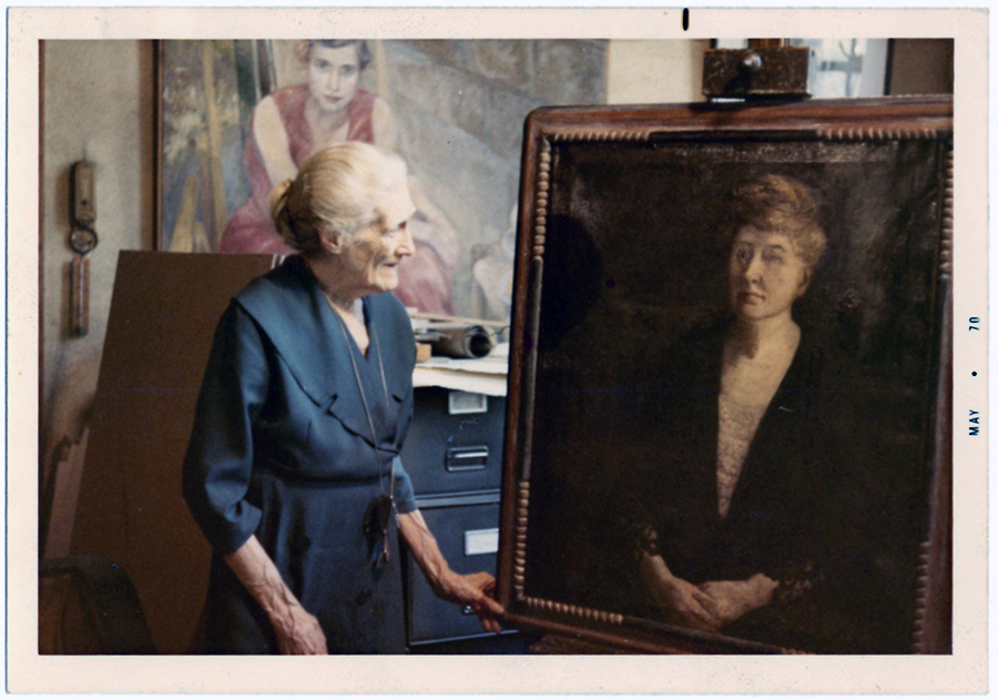 VCU_M9 Box 238 Adele Clark with portrait of Maud Wood Park May 1970 color corrected rsz.jpg