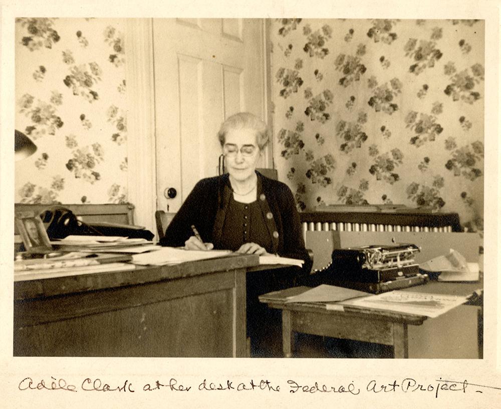 VCU_M 9 Box 239 Adele Clark at her desk Federal Art Project Christmas 1941 crop rsz.jpg
