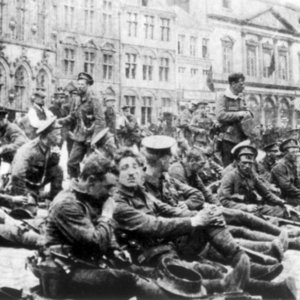 4th Royal Fusiliers resting at Mons, 22 August 1914