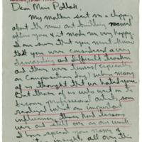 Letter to Theresa Pollak from Former Student, Otis Huband