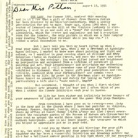 Letter to Theresa Pollak from Former Student, James Lawrence Basil Williams