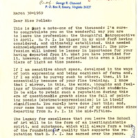 Letter to Theresa Pollak from Former Student, George Chavatel