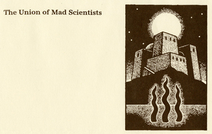 Tom Robbins stationery header, The Union of Mad Scientists