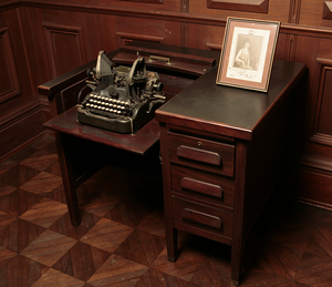 Cabell desk with typewriter and EG portrait rsz.jpg