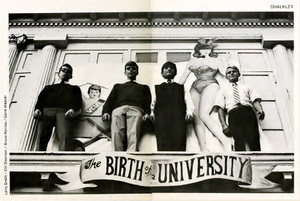 Birth of a University banner and residents of Chalkley House, a men's dormitory on the 800 block of Park Avenue, 1969.  Left to right, Larry Smith, Clif Sleeman, Bruce Harriss, Gene Weaver