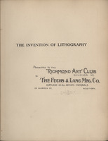 "Inscription on half title page of <em>The Invention of Lithography</em> by Alois Senefelder, 1911 Inscription reads: ""<span class=""EXLDetailsDisplayVal"">Presented to the Art Club of Richmond, By The Fuchs &amp; Lang Mfg. Co., Suppliers in All Artists Materials, 29 Warren St., New York.""</span>"