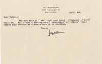 Letter from H. L. Mencken to James Branch Cabell originally placed in Cabell's copy of <em>Ladies and Gentlemen: A Parcel of Reconsiderations</em> by Branch Cabell, 1934.