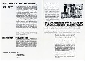 Encampment for Citizenship brochure, 1967