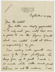 Letter to James Branch Cabell from Ted Shawn, September 13, 1929