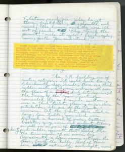 Handwritten notebook, Even Cowgirls Get the Blues,
