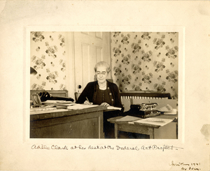 VCU_M 9 Box 239 Adele Clark at her desk Federal Art Project Christmas 1941 rsz.jpg