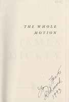 Larry Levis inscription on half title page from Larry Levis' copy of <em>The Whole Motion: Collected Poems, 1945-1992</em> by James Dickey, 1992.