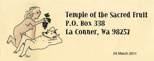 Tom Robbins stationery header, Temple of the Sacred Fruit