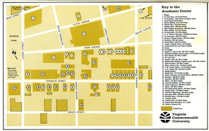 Map of the Monroe Park Campus [then identified at the Academic Campus] from the VCU Bulletin, 1969.