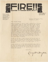 Letter to Hunter Stagg from Langston Hughes which was once in an envelope that had been pasted into Stagg's copy of<em> The Weary Blues</em> by Langston Hughes, 1926.