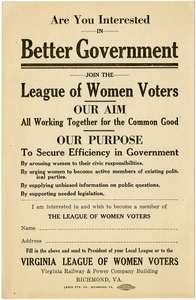 Are You Interested in Better Government? [Virginia League of Women Voters handbill]