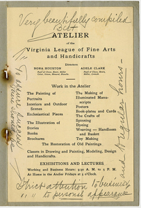 Atelier [Virginia League of Fine Arts and Handicrafts booklet]