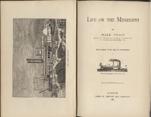 Illustration on frontispiece and title page of James Branch Cabell' copy of <em>Life on the Mississippi</em> by Mark Twain, 1883.