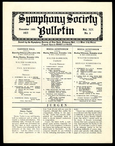 Symphony Society Bulletin, Vol. XIX, No.3, November 14, 1925.