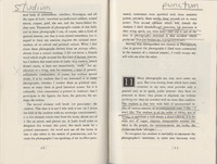 Annotations by Larry Levis on pages 26 and 27 of Larry Levis' copy of <em>Camera Lucida: Reflections on Photography</em> by Roland Barthes, 1981.